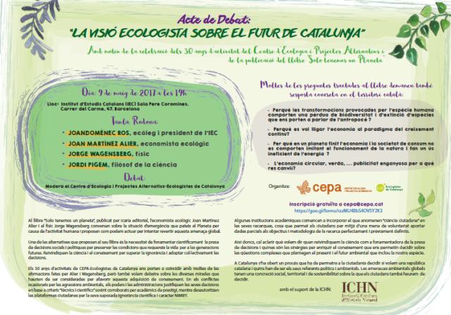 9 de maig: debat La Visió Ecologista sobre el futur de Catalunya