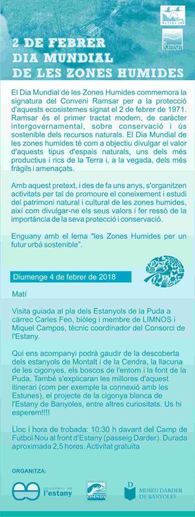 El proper 4 de febrer visita guiada al pla dels Estanyols de la Puda per celebrar el Dia Mundial de les Zones Humides