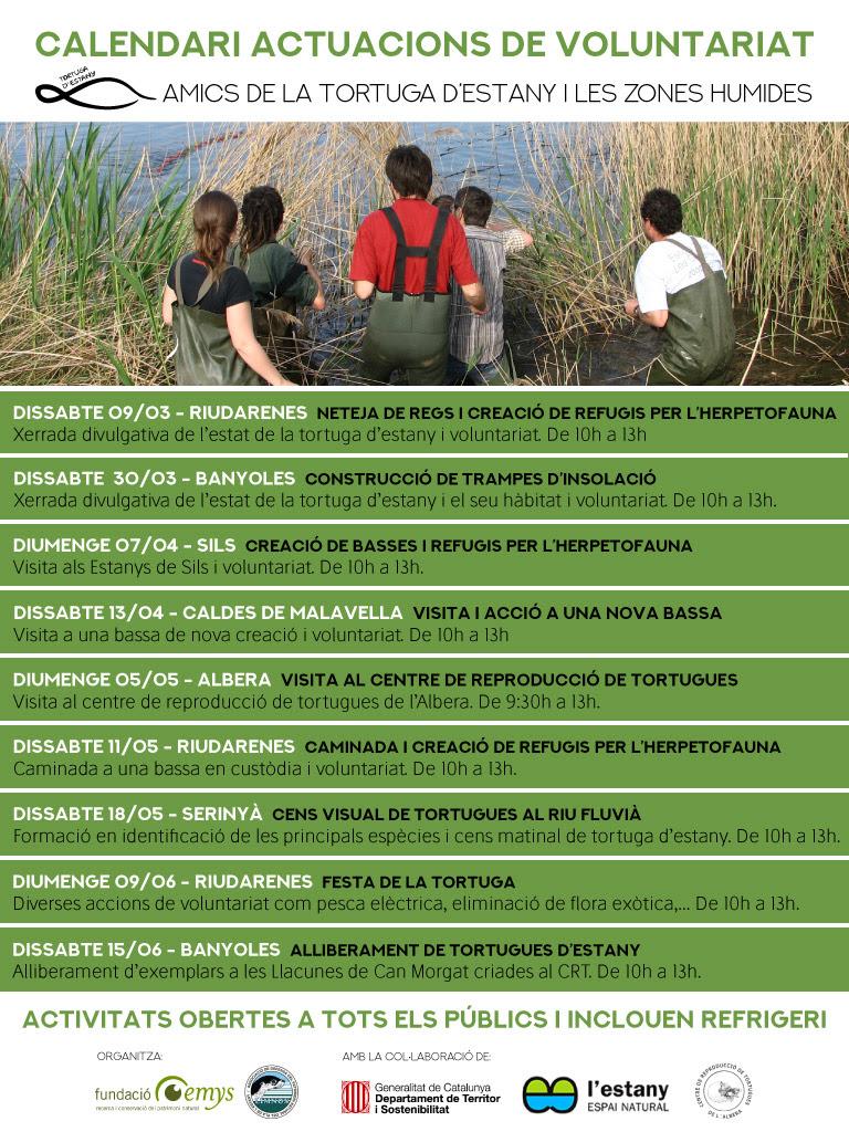 Properes activitats de voluntariat ambiental dels Amics de la tortuga d'estany