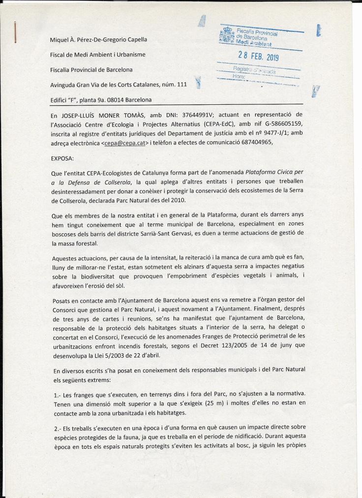Demanda a a la fiscalia de medi ambient sobre la gestió forestal a Collserola