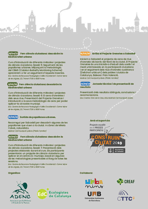 """Ja tenim aquí el calendari d'activitats 2020 del """"Vivim, Respirem, Replantegem Sabadell"""""""